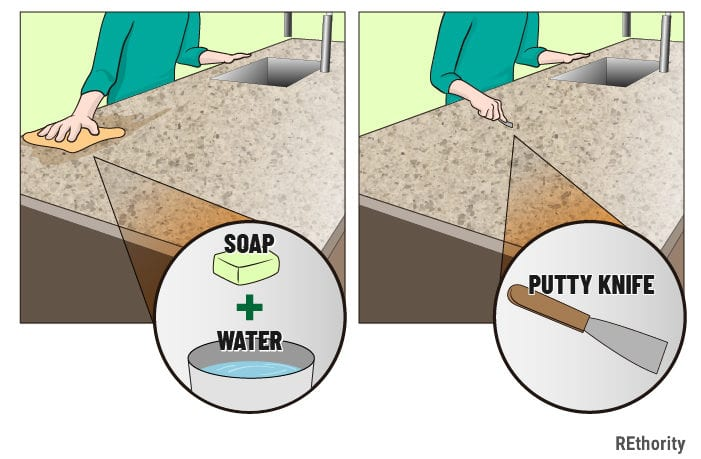The first step in the guide on how to clean quartz countertops