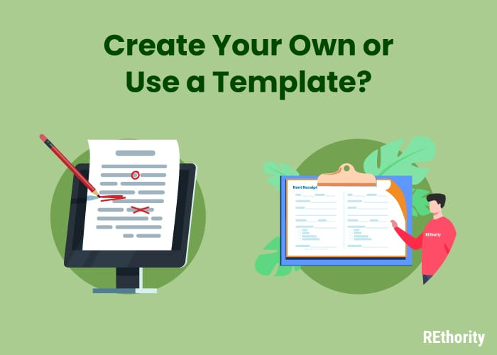 Create your own or use a template graphic for a rent receipt
