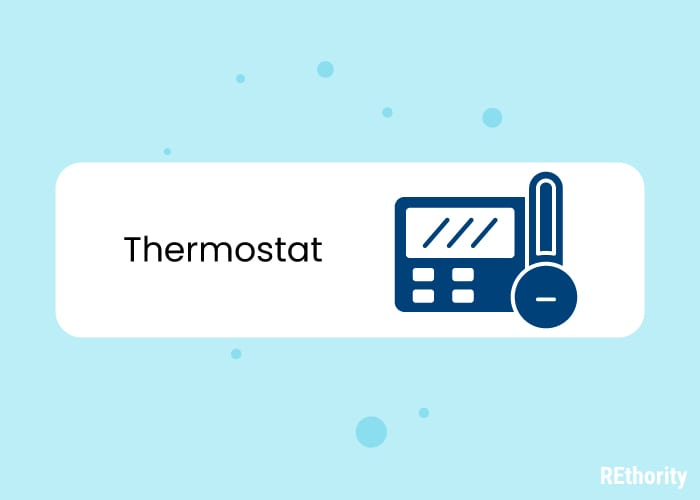 Illustrated thermostat and temperature gauge against blue background