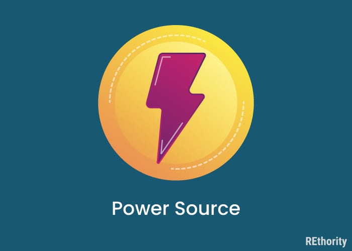 Graphic that says power source below a circle around a red lightning bolt