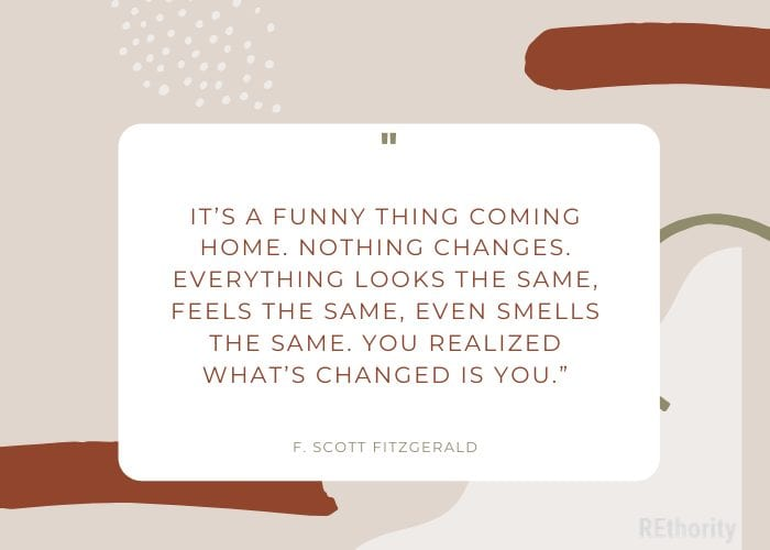 F. Scott Fitzgerald quote about home