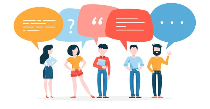 People talk using speech bubble. Group of business people speak and chatting. Communication with person. Isolated flat vector illustration