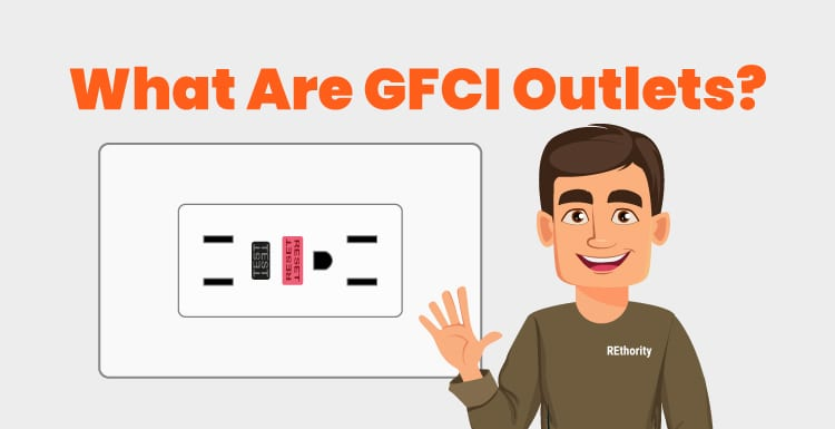 Person in a REthority shirt showing someone a person waving and standing in front of a GFCI outlet below the title What Are GFCI Outlets? in bold lettering at the top of the image
