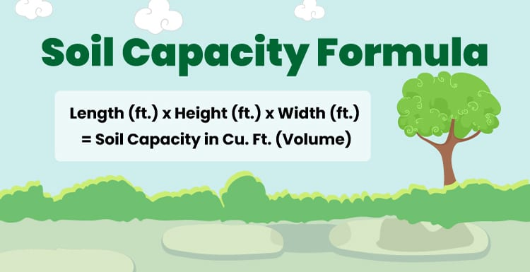 Soil Capacity formula illustrated against a graphic landscaping with vegetation and trees