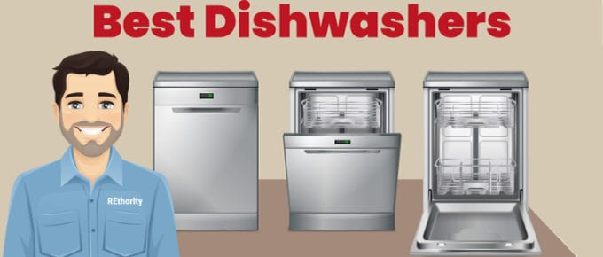 Image showing someone in a REthority shirt standing in front of three dishwashers in various states of use below the title Best Dishwashers