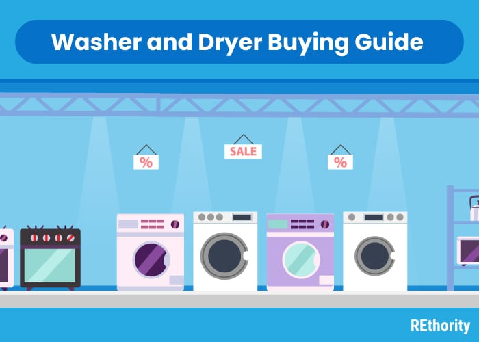 Image showing various washers and dryers in graphic form as if in a showroom under the title Washer and Dryer Buying Guide