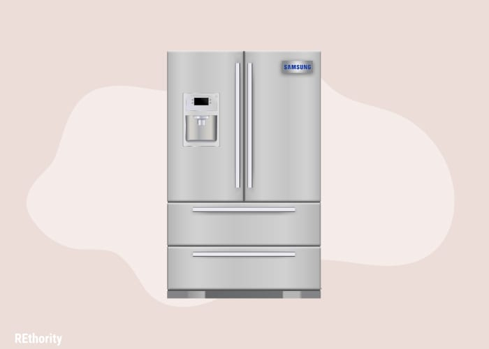 A samsung branded fridge shown in graphic form against a simple pink background