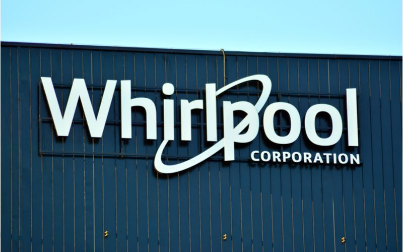 Whirlpool logo on the outside of a building in Poland on a sunny day for a piece on the best water heater brands