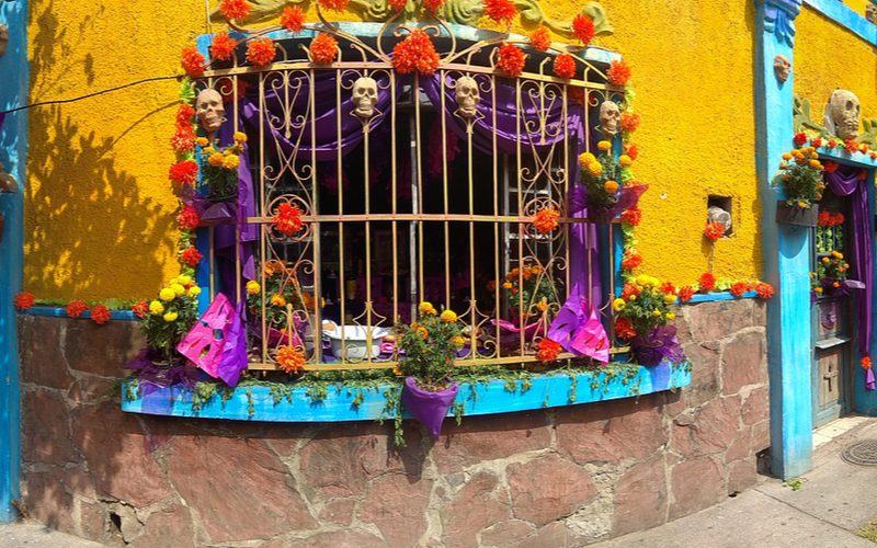 A Mexican kitchen as viewed from the outside in through metal grated with lots of skeletons adorning the walls