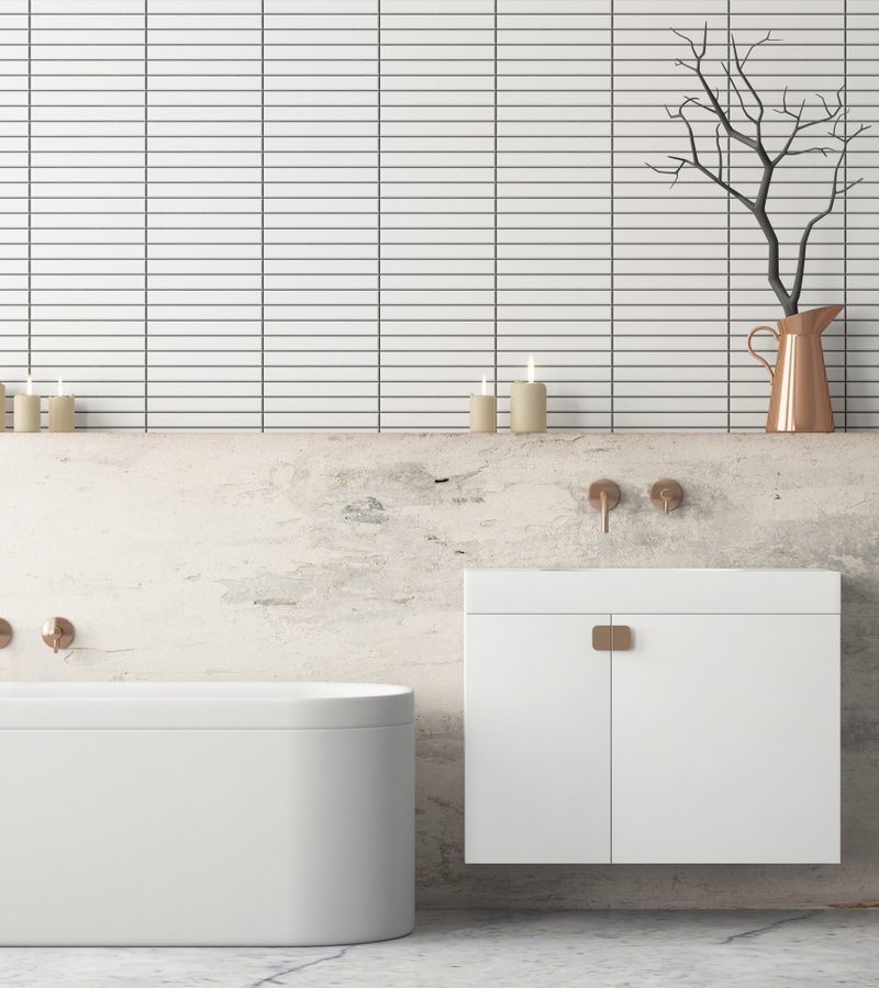 Minimalist White and Gold bathroom idea with gold decorations and vanity hardware