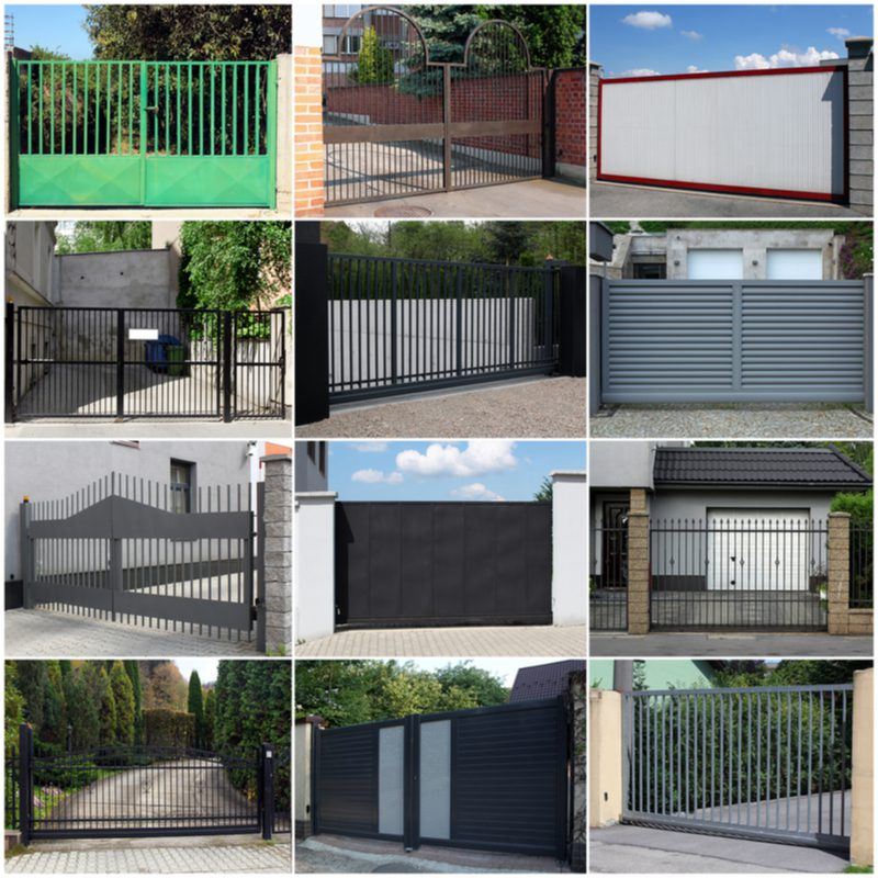 A bunch of different driveway gate ideas put into a square photo collage