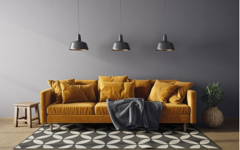 Idea to use hanging pendent lights above a couch in leu of traditional wall décor